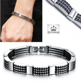 bracelet homme gravé silicone noir et acier