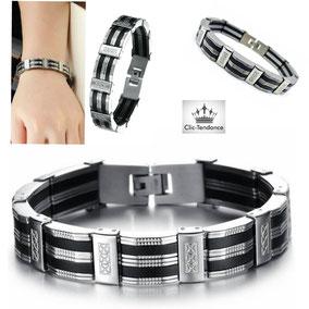 bracelet homme acier inox silicone noir