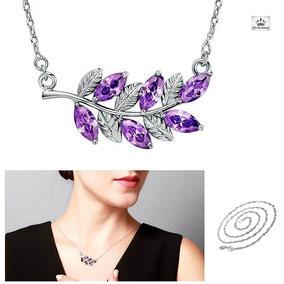 chaine femme en argent et pendentif en cristal violet