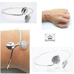 bracelet fantaisie coeur argent et strass