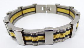bracelet pour homme acier inox or et silicone noir