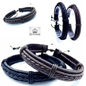 bracelet cuir tresse marron et noir pour homme