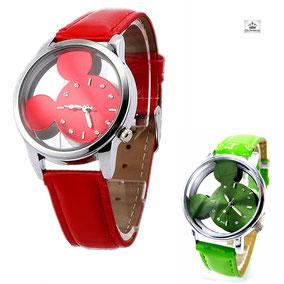 montre enfant colorée et fun mickey couleur rouge ou verte