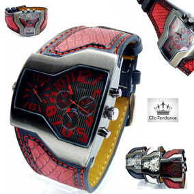 montre homme style urbain look rouge
