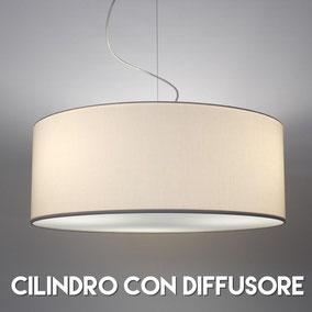 Catalogo lampadario a sospensione modello cilindro con diffusore.