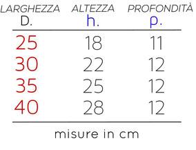 Schema dettagliato delle misure disponibili per l'applique rettangolo.