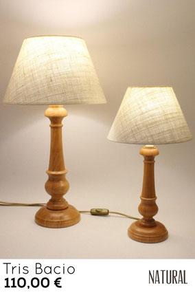Lampade per camera da letto, trittico in vero legno.