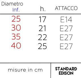 Schema misure disponibili per Paralume Sagomato Quadro.
