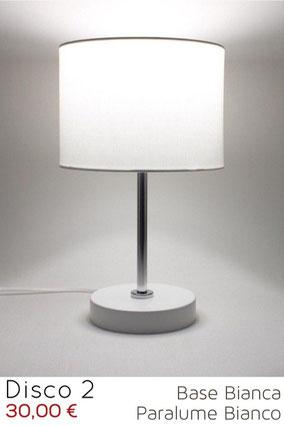 Lampada da comodino moderna cilindro, legno bianco.