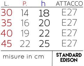 Scheda tecnica paralume Rettangolare: dettaglio delle misure.