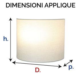 Dimensioni applique in tessuto modello Luna.