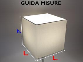 Guida misure paralume cubo.