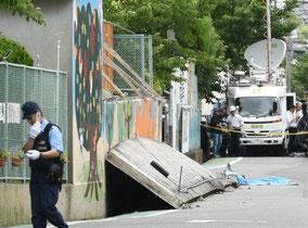 大阪北部地震で小学校のブロック塀が倒壊した現場