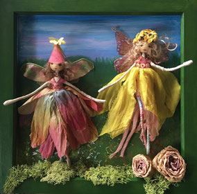 Summer Faeries in a hand painted frame