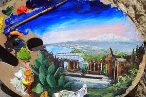 Рисовать и пить вино в Таормине, художественный тур в Таормине, paint and wine тур по Таормине