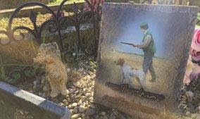 plaque-funeraire-personnalisee-chasseur-chien-peche