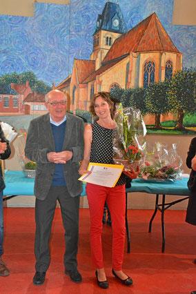 Hélène Auré, médaillée du travail, ATSEM à l'école primaire de La Neuville en Hez