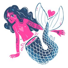 TATUIU, Mermaid Klebetattoo