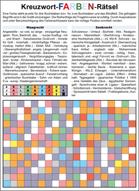 Farben-Kreuzworträtsel © Rätselbüro Martin Simon