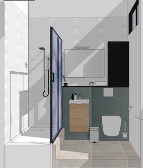 salle de bain, salle d'eau, baignoire, carrelage, vue 3D salle de bain, projet rénovation salle de bain, Studio salle de bain