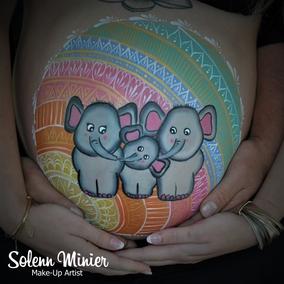 belly painting  elephant mandala maquillage prénatal solenn minier rennes femme enceinte grossesse baby shower