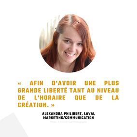 Témoignage Alexandra Philibert travailleuse autonome Québec pour Académie des Autonomes