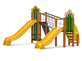multifunzione Cespuglio Scivolo Ciuffo, giochi per parco, giochi per parchi, attrezzature per parchi gioco, strutture ludiche Stileurbano Ciuffo Baobab certificati Norma EN1176 CATAS stileurbano oratorio FOM odielle abbiategrasso