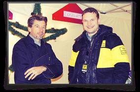 Rainer Scholz mit Radiomoderator Volker Groß, Radio Bonn/Rhein-Sieg