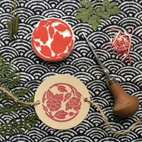 Tampon sceau fleuri japonais Le Héron Graveur