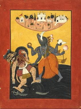 ヒラニヤークシャを倒すヴァラーハ