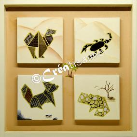 origamis animaux ; animaux désert ; peinture animaux ; chameau ; scorpion ; fennec ; caméléon