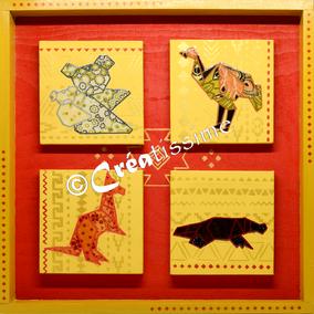 tableaux enfants ; décoration chambre d'enfant ; orgamis kangourou ; koala ; autruche ; ornithorynque