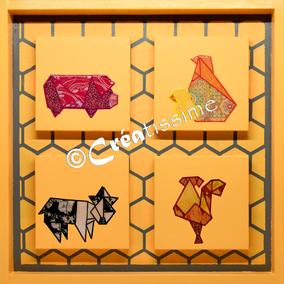 origamis ; tableaux enfants ; peinture animaux ; cochon ; poule ; poussins ; vache ; coq