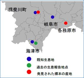 図12-3 カスミサンショウウオが確認された地点