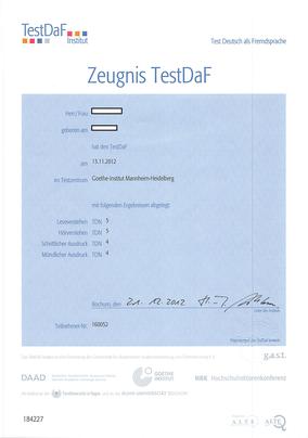 德福TestDaF證書