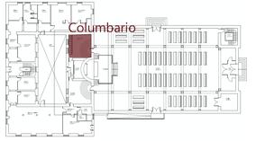 El columbario se localiza justo al lado del altar mayor. En la zona señalada en rojo.