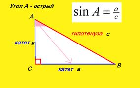 sin синус острого угла прямоугольного треугольника