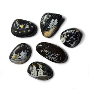 Sapins et bonhommes de neige acrylique blanc, or et gris irisé - 6 galets gris anthracite - vernis brillant