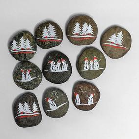 10 galets décoratifs NEIGE - jeu morpion, tic tac toe - peinture acrylique sur galets de plage - fini mat