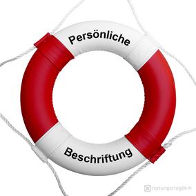 Rettungsring Rot-Weiß mit Beschriftung