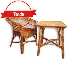 Bureau,et,chaise,enfant,rotin,et,osier,retro,vintage,decoration