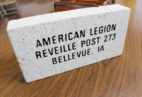 Memorial pavers, made of white granite, will be sold and engraved with the names of veterans and when they served. 800 slots are available for purchase.