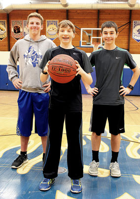 COMMERCIAL SUCCESS: From left are Ben Parker, Abe Steinbeck and Andrew Swartz who took top honors for a television commercial they created for the IHSAA, which resulted in a trophy and $1,000 for the Bellevue School District.