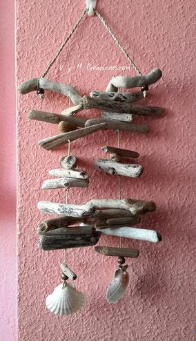 móvil madera de mar, decoración rustica, artesanía asturiana, asturias, artesanía, madera, ecológico, madera de mar, driftwood art, driftwood mobile,