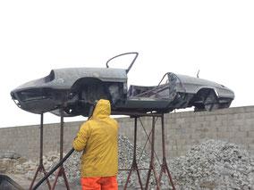 Alfa Romeo Spider, Unterbodenschutz Entfernung, Entlackung der Karosserie, Alfa Getriebe Reinigung