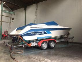 Motorboot, gfk, Antie Fouling Entfernung, Unterwasser schiff