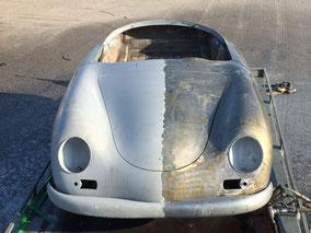 Porsche 356 Speedster Wasserhochdruckstrahlen entlacken original stahlblech kitt enfernung Lackentfernung