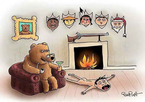 Dessin humoristique d'un ours devant des trophées humains