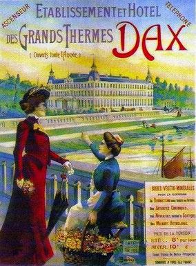 Affiche fin 19 ème vantant les mérites des thermes de Dax