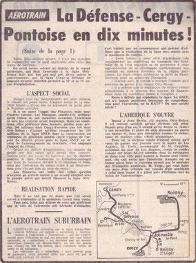 Texte d'un journal sur la liaison Cergy Pontoise